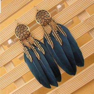 New boho dream catcher/ feather tassel earrings